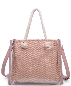 Urban Expression Clear Canvas Tote Bag With Inner Pouch 20873 BLUSH