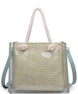 Urban Expression Clear Canvas Tote Bag With Inner Pouch 20873 MINT