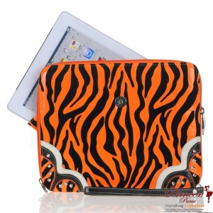 Zebra Print Ipad Case Holder w/ Fold Over Star Emblem