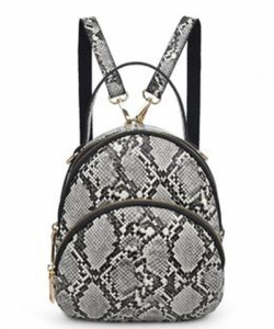 Urban Expressions Nichole Snakeskin Mini Backpack 21363 BLACK/Gray