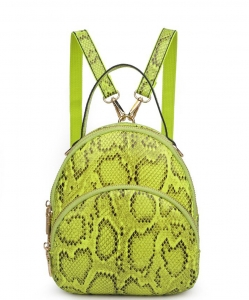 Urban Expressions Nichole Snakeskin Mini Backpack 21363 NEON GREEN