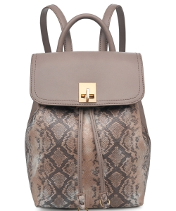 Urban Expressions Snakeskin Vegan Leather Backpack 21491 Taupe
