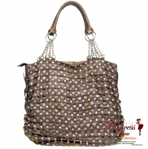 Designer inspired leatherette hobo handbag with rhinestone accent