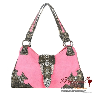 Designer Inspired Rhinestone And Studs Handbag w/ Fold Over Belt
