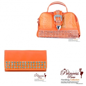 Combo!! This designer handbag with fold over belt closure and crystal rhinestone and studs accent w/ Matching Wallet