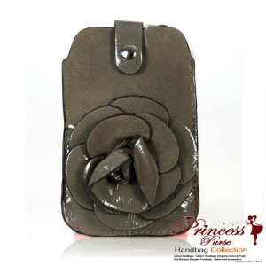 Fashionable Cellphone Holder w/ Flower Adornment And Front Strap Snap Closure