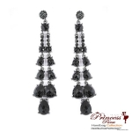 Stylish And Chic Dangling Earring w/ Assorted Size Stone Accent