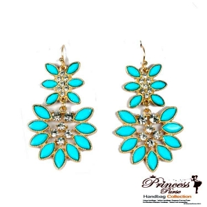 Fashionable Dangling Earring W/ Flower Like Shape And Rhinestone Accent