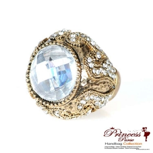 Stylish And Bold Crystal Center Ring w/ Small Rhinestone Encrusted Body Accent