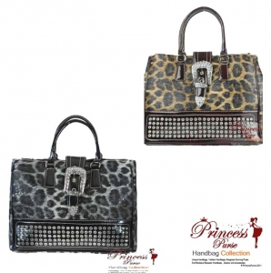 6 piece Bulk Buy!! Inspired Leopard Print Handbag w/ Rhinestone And Front Buckle Accent