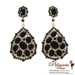 Fashionable Dangling teardrop Shaped Earring w/ Assorted Size Stones And Rhinestone Accent