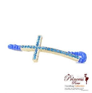 Stylish Cyrstal Bead Bracelet w/ Rhinestone Cross Accent.