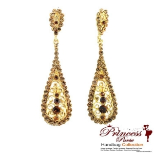 Fashionable And Sparkly Dangling Chandelier Earings W/ Rhinestone Accents