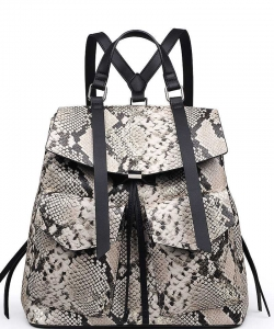 Luxury Charlize Snake Skin Backpack 22271 CAMEL