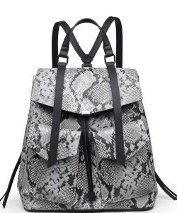 Luxury Charlize Snake Skin Backpack 22271 GUNMETAL