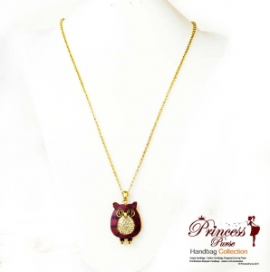 Delightful Owl Emblem necklace w/ Rhinestone Accent