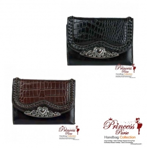 6 piece Bulk Buy! Genuine Leather Tri-Fold Crocodile Skin Patten Wallet w/ Heart Accent. Snap Button Closure