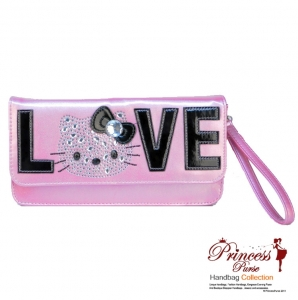 Hello Kitty Original Clutch Handbag w/ Sparkly Pink Sequence Accent And Large Hello Kitty Logo and LOVE wording