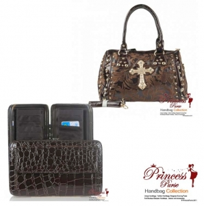 Combo!! Designer Inspired  Handbag w/Rhinestone Cross Emblem and Gold Studs Decoration w/ Matching Wallet.