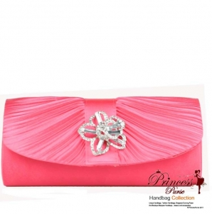 Designer Inspired Elegant Clutch purse w/ Rhinestone Flower Deceration