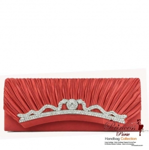 Designer Inspired Elegant Clutch Purse w/ Rhinestone Accent and Magnite Button Closure