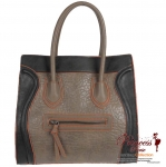 Designer Inspired Faux Leather Handbag w/ Zipper Pocket in Front