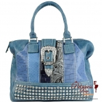 Chic and Fashionable Multi Pattern Hand Bag w/ Rhinestone Decoration and Flap over Buckle Closure