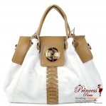 Designer Inspired Slouchy Faux Leather Handbag w/ Twist Lock Accent