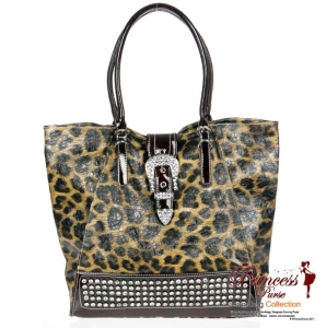 Designer Inspired Animal Print Glossy Leatherette Hand Bag w/ Flip-over Buckle and Rhinestone Decor