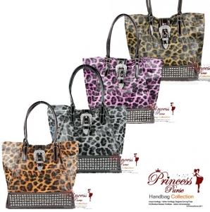 6 piece Bulk Buy! Designer Inspired Animal Print Glossy Leatherette Hand Bag w/ Flip-over Buckle and Rhinestone Decor