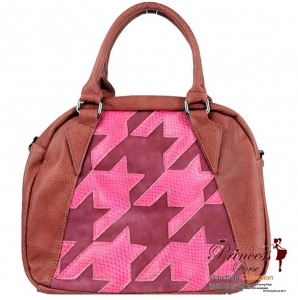 Modern Designer Inspired Leatherette had bag w/ Patter Accent