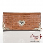 Designer Inspired Genuine Leather Tri-Fold Wallet and Silver tone Heart Emblem.
