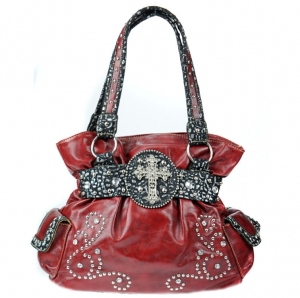 Faux Leather Western Handbag with Pockets and Croc Skin, Rhinestone, and Cross Charm Decor - Red