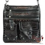 Chic and Modern Animal Skin Messenger bag w/ Multi Pockets in Front
