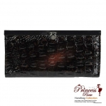 Designer Inspired Crocodile Skin Leatherette wallet w/ Slip-in Flip-down Closure