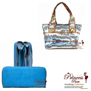 Combo!! Designer Inspired Leatherette Hang Bag w/ Shiny Color and Leather Cut Design w/ Matching Wallet