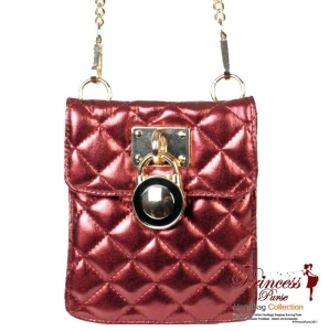 Designer Inspired Leatherette Hand Bag w/ Locket Accent.