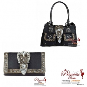 Combo! Western Inspired Handbag w/ Flip-over Buckle Rhinestone Accent and Stud Decor w/ Matching Wallet