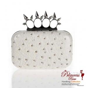 Designer Inspired Leatherette Spiked Four Finger Handle Evening Bag w/ Ostrich Skin Like Finish