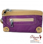 Designer Inspired Messenger Leatherette Bag w/ Stud Accent and Zipper Pocket Front