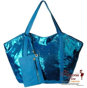 Shiny Sequence HandBag w/ Matching Zipper Pouch