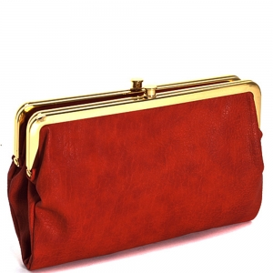 Urban Expressions Faux Leather Wallet  Metal hardware Complements Classic Style 7287A-UR   RED