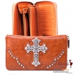 Designer Inspired Leatherette Wallet w/ Cross in Rhinestone and stud Decor