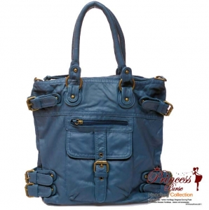 Designer Inspired soft Leatherette Hand Bag w/ Front pocket and Buckle Accents