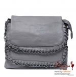 Designer Inspired Faux Leather Messenger Bag with Chain Trim