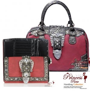 Combo! Designer Inspired Rhinestone And Studs Handbag w/ Fold Over Belt w/ Matching Wallet