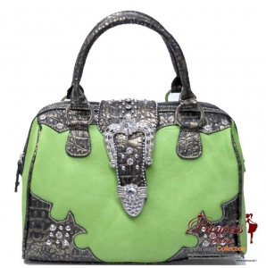 Western Designer Inspired Hand Bag w/ Rhinestone and Stud Decor and a Flip-Over Buckle Closure