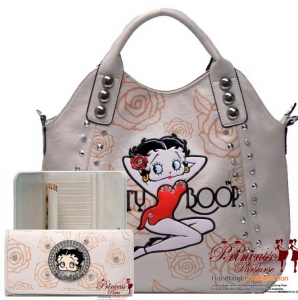 Combo! Original Flower Pattern Leatherette Betty Boop Hand Bag w/ Stud And Accent Decor w/ Matching Wallet