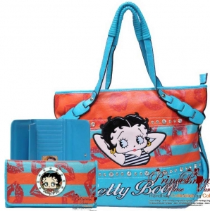 Combo!! Original Lips Pattern Leatherette Betty Boop Hand Bag w/ Stud And Accent Decor w/ Matching Wallet