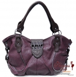 Designer Inspired Leatherette Handbag w/ Zipper and Stud Accent